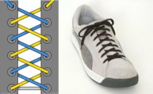 Как зашнуровать кроссовки. Шнуруем кроссовки с 4 дырками
