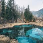Живое гейзерное озеро на Алтае.
